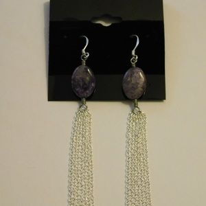Princess Gems Jewelry - Charoite Gemstone Chain Earrings